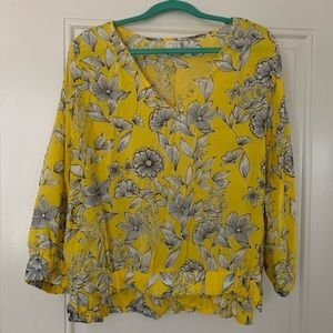 Cute yellow floral blouse